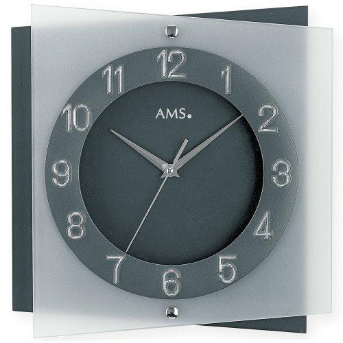 AMS wandklok 9323 kwarts mineraalglas op antracietgelakte achterwand