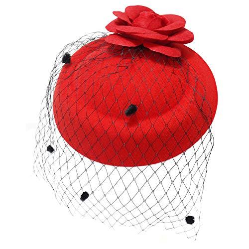 Ro Rox Ruby Rosen Vintage Retro 40er 50er Jahre Fascinator Hochzeit Party Hut - Rot