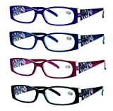 READING GLASSES 4 Pack Quality Readers Spring Hinge Stylish Designed Womens Glasses for Reading 4 Colors +1