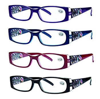 Success Eyewear READING GLASSES 4 Pack Quality Readers Spring Hinge Stylish Designed Womens Glasses for Reading +2 Set of Black Blue Red Purple 52 mm