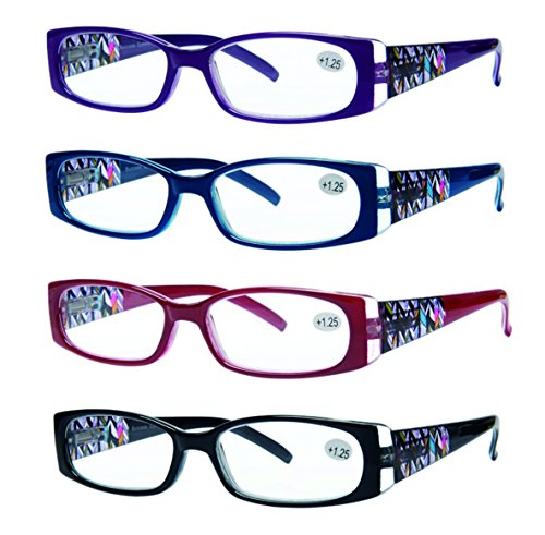 Success Eyewear Reading Glasses 4 Pack Quality Readers Spring Hinge Stylish Designed Womens Glasses for Reading +1.5