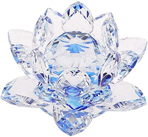YGXR Furniture and kitchen decorations, Bling Crystal Lamp Holder, Lotus Design Oil Lamp, Buddhism Craft Ornaments, Votive Candle Holders - Blue