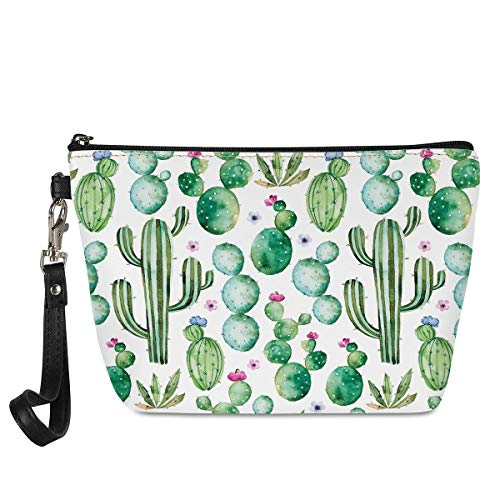 Mumeson Women Travel Toiletry Pouch Hipster Cactus Cacti Pattern Wristlet Makeup Bag Waterproof Clutch
