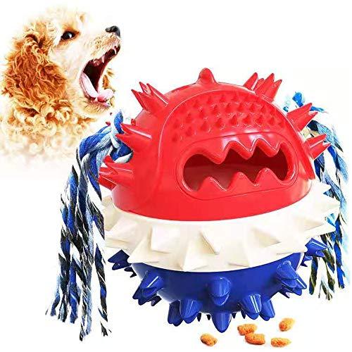 Juguetes masticables para perros Ball Squeaky Slow Feeder Juguete, Cepillo de dientes de perro juguetes interactivos (rojo+azul)