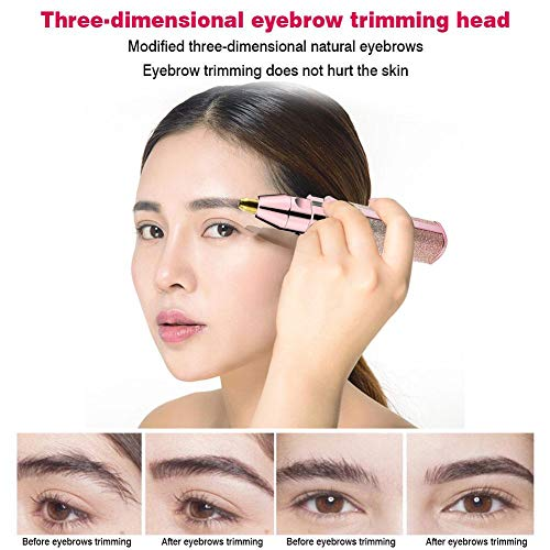 DaJun 2-in-1 Eyebrow Hair Remover | Facial Razor for Women - USB Charging Painless Electric Eyebrows Clipper for Women - Best & Safest Lady Trimmer for Eyebrow