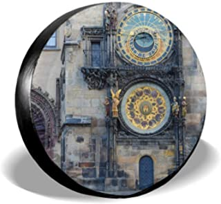 Chawzie Old Clock in The Old Town Protector Wheels Car Spare Tire Cover Tire Cover Waterproof Uv Sun 14 - 17 Fit for Jeep Trailer Rv SUV and Many Vehicle