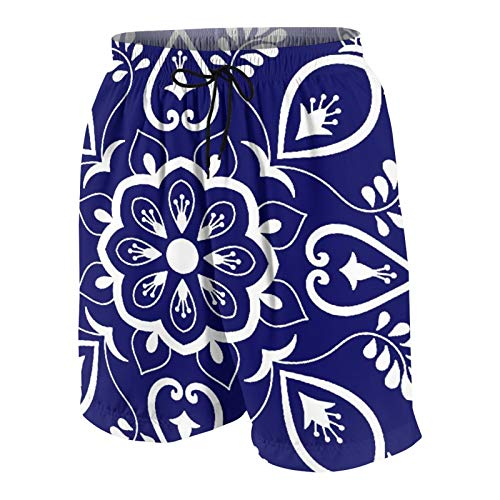 De Los Hombres Casual Pantalones Cortos,Azulejos Adornos Motivos Florales Azules Y Blancos,Secado Rápido Traje de Baño Playa Ropa de Deporte con Forro de Malla