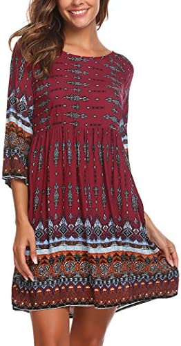 SE MIU Women Long Loose Bohemian T Shirt Tunic Dress Dark Red L product image