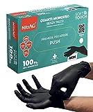 100 guantes desechables de TPE sin látex, guantes de trabajo desechables, guantes de esteticista y para alimentos, guantes sin polvo no adherentes (M, negro)