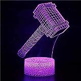 3D Luz De Noche Led de luz nocturna lámpara para sala de estar Martillo de Thor de Anime mejor regalo de para niños y niñas Cambio de color colorido, con interfaz USB