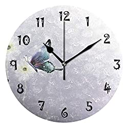 Baofu Vintage Wall Clock Round Butterfly Silent Non Ticking Battery Retro Operated Accurate Arabic Numerals Design Decorative for Home Kitchen Bedroom Office(10 Inch)