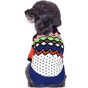 Blueberry Pet sur le arc-en-ciel Multicolore Motif Argyle col châle Pull pour chien