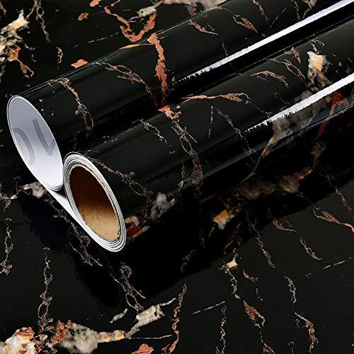 LZYMLG PVC wasserdicht Marmor selbstklebende Tapete Schlafsaal Schlafzimmer DIY Aufkleber Küche Wand Renovierung Aufkleber Öl Schwarzes Gold