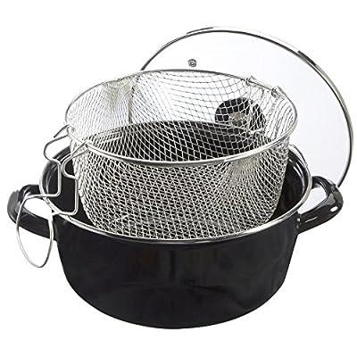 Friteuse en acier émaillé noir avec panier et couvercle tous feux D26cm