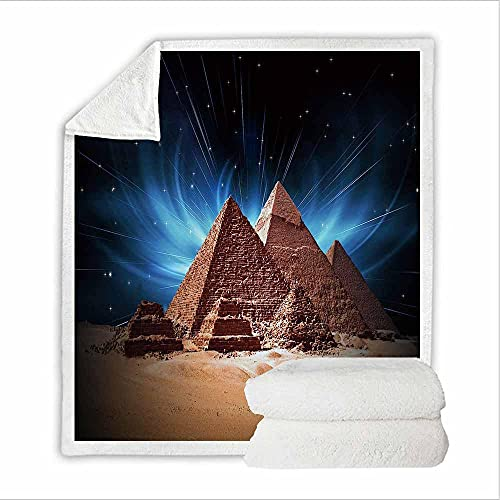Blau Kuscheldecke Fleecedecke Ägyptische Pyramiden 3D Wohndecke Microfaser Flauschig Weich Warm Plüsch Wohndecke Fleece Tagesdecke Decke für Sofa & Bett Sofaüberwurf Decke 76 X 100 cm