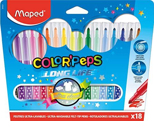 Maped - Feutres Long Life - 18 Feutres de Coloriage Ultra-lavables et Longue Durée - Pointe Moyenne Bloquée - Couleurs Vives - Idéal Fournitures Rentrée Scolaire - Pochette Carton