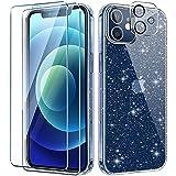 AROYI Handyhülle Kompatibel mit iPhone 12 Hülle mit 2 Stück Panzerglas Und Kamera Panzerglas Transparente Glitzer Silikon TPU Schutzhülle Kompatibel mit iPhone 12