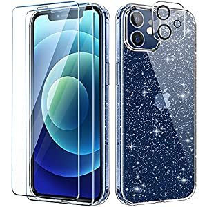 AROYI Clear Glitter Case Compatible with iPhone 12 Case with 2 Pack Tempered Glass Screen Protector and 1 Pack Camera Lens Protector, Bumper Anti-Scratch Transparent Sparkle Bling Cover