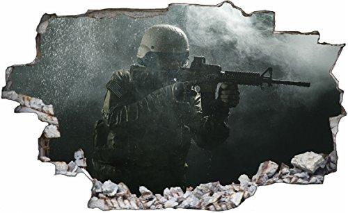 DesFoli Soldat Soldier Armee Army Militär 3D Look Wandtattoo 70 x 115 cm Wand Durchbruch Wandbild Sticker Aufkleber C209