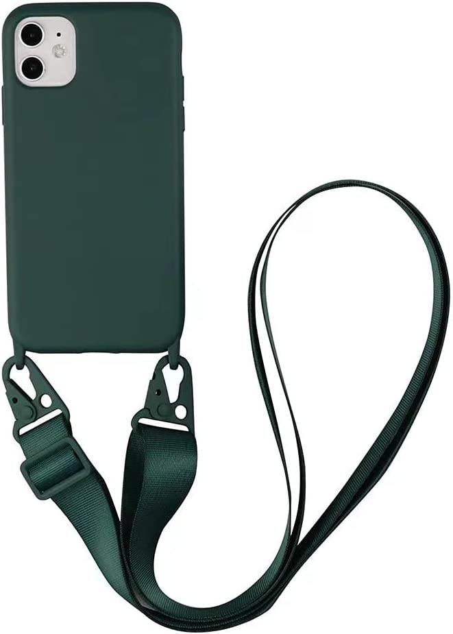 TY-Box Portable Necklace Silicone Phone Cover Compatible with iPhone 12 Model, Soft Cell Phone Protective Cover+Adjust Crossbody Lanyard Case for iPhone 12 Pro Max 6.7 inch (Green, 12 Pro Max)