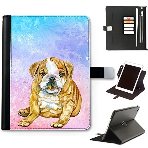 British Bulldog Puppy Dog Case For Apple iPad Air 4 (2020) 10.9 inch, Watercolour Art Print leather iPad Case, side flip wallet case, 360 swivel folio cover