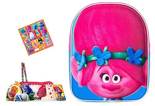 Super Trolls Set - Poppy 3D Kinderrucksack Kita Tasche ca. 25x31x10cm + 6 TLG. Trolls Schlamper + 12 Trolls Sticker
