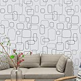 Pegatinas decorativas papel pintado autoadhesivo,Papel pintado autoadhesivo impermeable nórdico bosque gris papel pintado-Fondo blanco geométrico simple_Los 60cm × 10m