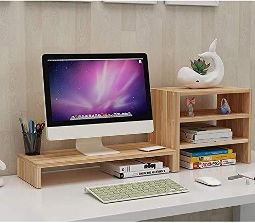 Suge Computer-Schreibtisch-Monitor Stand Riser mit Stauraum-Holz Multifunktionale Desktop-Organizer Laptop Ständer Platzsparend for Office-Monitorständer