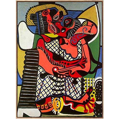 Der Kuss von Pablo Picasso Leinwand Malerei Kunstdruck Poster Wandbilder Für Schlafzimmer Wohnzimmer Wohnkultur-60x80cm Kein Rahmen