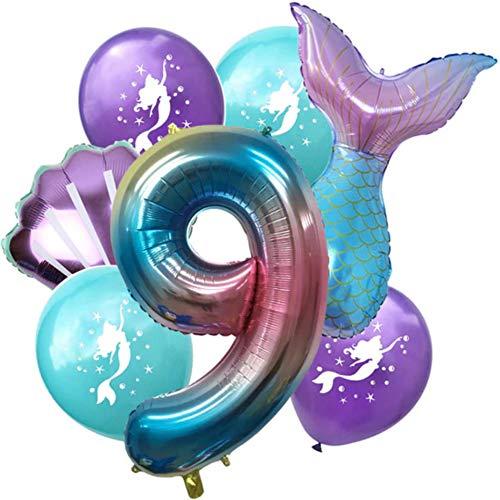 DIWULI, großes Meerjungfrau Luftballon Set, 1x XL Zahl 9 Zahlen-Ballon + 2X Folien-Ballon + 4X Latex-Ballon 9. Kinder-Geburtstag Junge Mädchen, Motto-Party, Dekoration, Ballon-Set Deko lila bunt