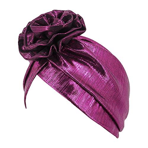 Surkat Glänzende Blumenturban Schimmernde Chemo-Mütze Kopfbedeckung Kopfbedeckung Mütze Haarschal - - Einheitsgröße