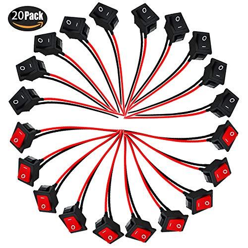 RUNCCI-YUN 20Pcs 2 pines Interruptor Basculante, Mini barco Interruptor basculante, AC 6A/250V 10A/150V Mini Interruptores Basculantes para Barcos/Coche/Auto