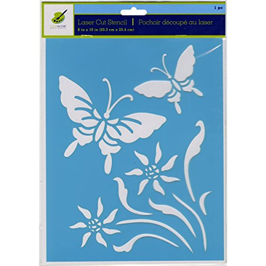 Multicraft Imports PA732P Butterfly 2 Color Factory Stencil, 8