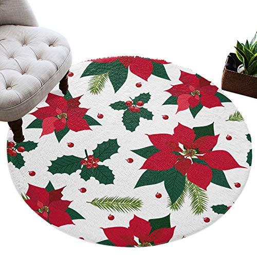 Runda mattor jul julstjärna järnek löv mjuk bekväm cirkel lurvig matta röd semester jul fluffiga mattor lurvig golvmatta för vardagsrum sovrum barnkammare rum, 4 fot