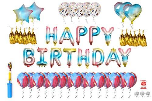 Rainbow Happy Birthday Balloon with Gold Tassel Set