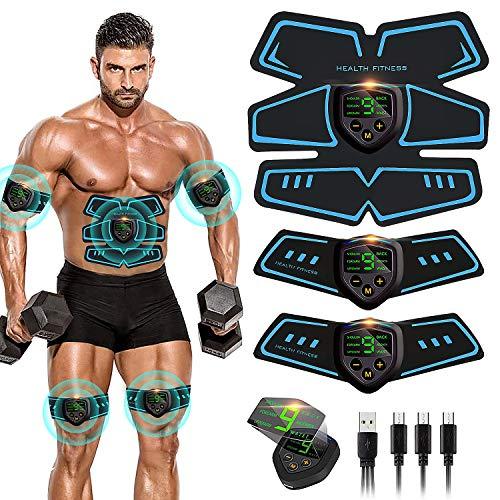 Electroestimulador Muscular, Abdominales Cinturón, Estimulador Muscular Abdominales, Masajeador Eléctrico Cinturón con USB, EMS Ejercitador del Abdomen/Brazo/Piernas/Cintura