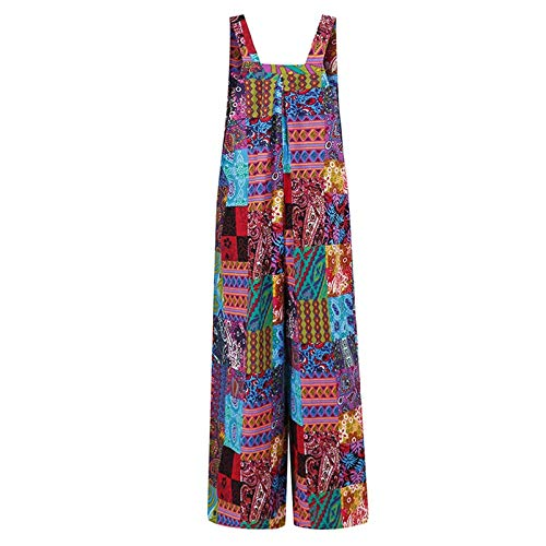 Vestidos Mujer Bohemio Corto Florales Verano Playa Mono de Tirantes con Botones Estampados Vintage de Estilo étnico a la Moda para Mujer(Azul,XXL)