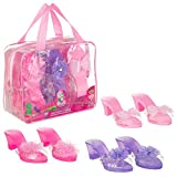 Expressions Toddler Girls Kids 3 Pack Dress Up Royalty Shoes with Heels Set in Carrying Bag - Fits Toddler Shoe Size 7-10 - Pink, Rose, Lilac Perfect Little Girl Toys Role Play Playset