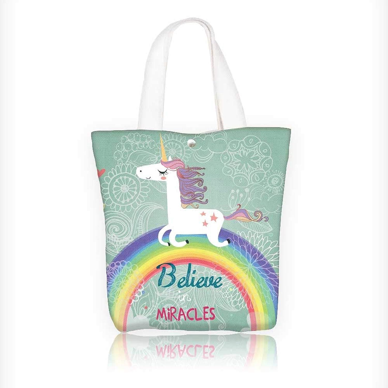 Canvas Tote Bag Unicorn with Rainbow Hanbag Women Shoulder Bag Fashion Tote Bag W16.5xH14xD7 INCH