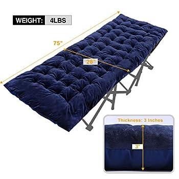 REDCAMP Matelas XL pour lit de camping, doux et confortable, en coton épais, 190 x 75 cm, bleu marine