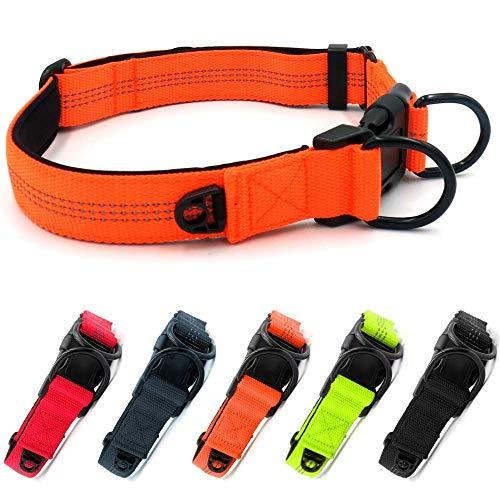 Beshine Collar ajustable para perros para perros grandes o medianos, neopreno de nailon reflectante con anillo de identificación independiente y anillo en D doble, duradero y cómodo, naranja
