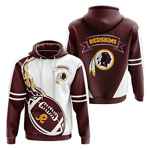 2021 Herbst Winter Washington Hoodie, Team Sportswear atmungsaktiv, Red-Skins Digitaldruck 3D Rugby-Trikot, Team-Logo, Jacke, Kleidung, Zubehör Gr. 4XL, metallic