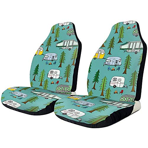 Autostoelhoezen Vintage Travel Happy Camping Campers Field Fires Protector Cushion Universele stoelhoezen