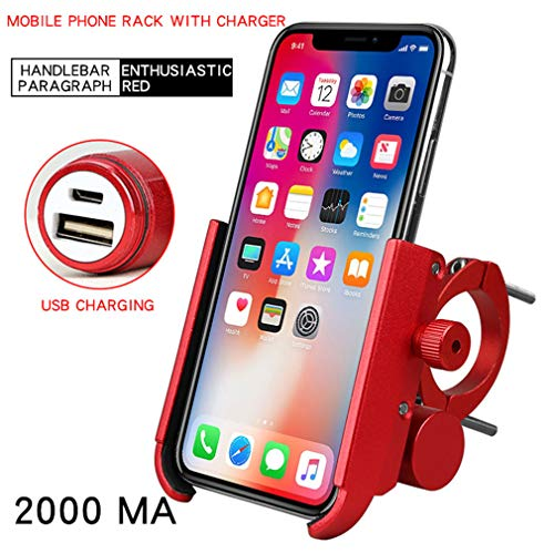 Lowest Prices! LHY RIDING Bike Phone Mount 360 Detachable Bicycle Phone Holder, Rechargeable Bicycle Mobile Phone Storage, Portable rotatable Mobile Phone Holder,Red,3500MA