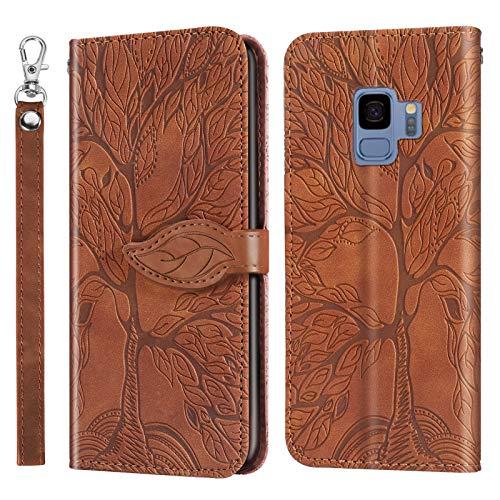 ZIRX010215 - Carcasa para Samsung Galaxy S9 (antigolpes), diseño de billetera, piel sintética y gel antigolpes, color marrón