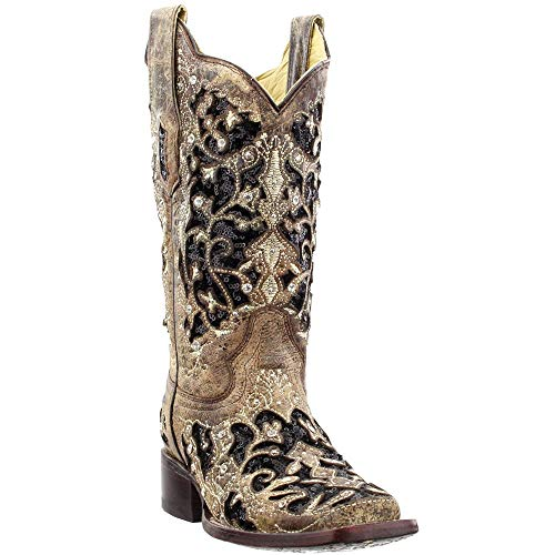 CORRAL Women's Sequin Inlay Western Boot Square Toe Brown 9 M