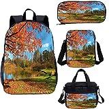 Mochila de paisaje de 15 pulgadas con bolsa de almuerzo, conjunto de estuche, escena de otoño en Michigan 4 en 1 conjuntos de mochila