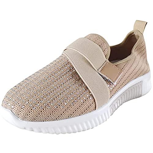 Sneakers da donna, casual, suola spessa, casual, con strass e luce, traspiranti, per camminata, jogging, attività all aria aperta, cachi, 45