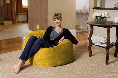 Chill Sack Bean Bag Chair: Large 3' Memory Foam Furniture Bean Bag - Big Sofa with Soft Micro Fiber Cover - Lemon Micro Suede