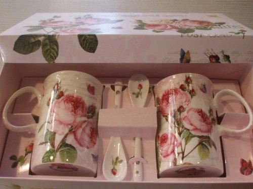 Nuova R2S R8699.283 Coffret 2 Mugs + Cuillère Roses Romantiques